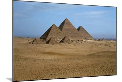 Egypt, Cairo, Ancient Memphis Pyramids at Giza. Pyramid of Khafre--Mounted Giclee Print