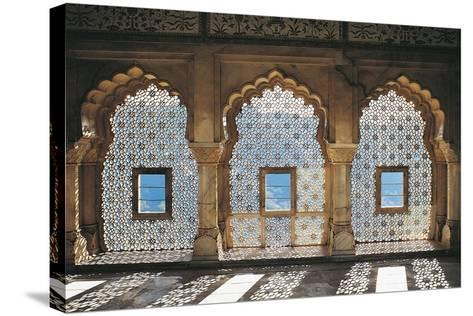 Openwork Windows in Mandir Jess Hall, Amber Fort or Amber Palace--Stretched Canvas Print