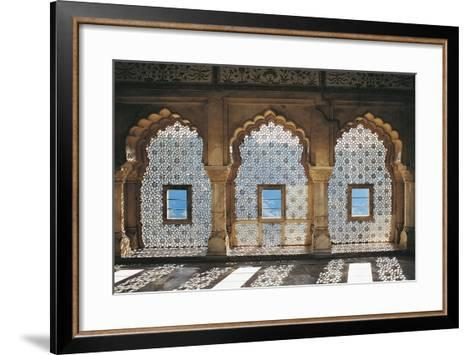 Openwork Windows in Mandir Jess Hall, Amber Fort or Amber Palace--Framed Art Print