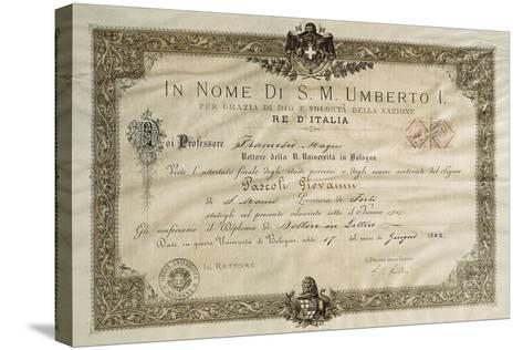 Bachelor's Degree in Literature of Giovanni Pascoli--Stretched Canvas Print
