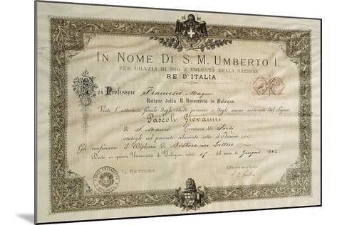 Bachelor's Degree in Literature of Giovanni Pascoli--Mounted Giclee Print