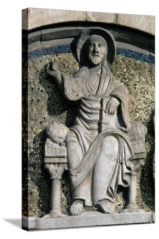 Jesus on Throne, Bas-Relief, Detail from Lunette Above Entrance Door--Stretched Canvas Print