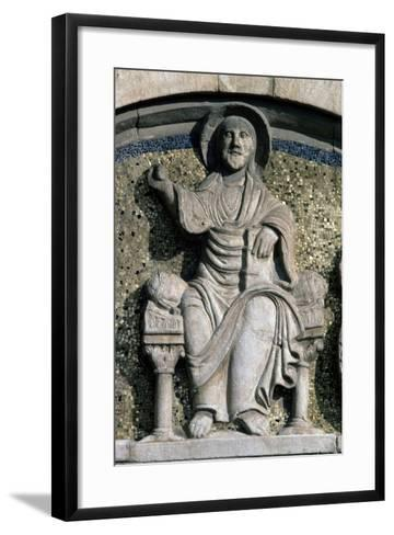 Jesus on Throne, Bas-Relief, Detail from Lunette Above Entrance Door--Framed Art Print