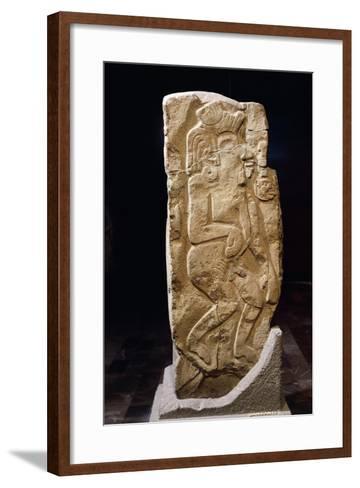 Stele of Dancers, Artifact Originating from Monte Alban--Framed Art Print