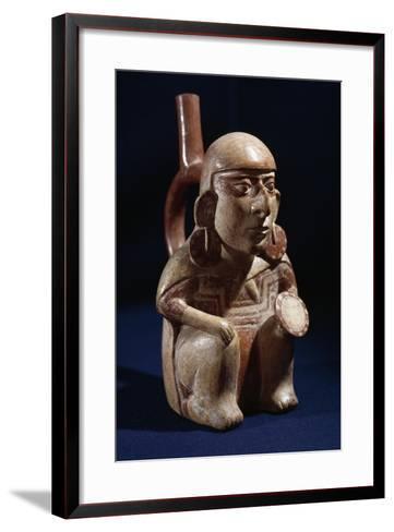 Terracotta Vase in Shape of Warrior, Moche or Mochica Culture--Framed Art Print