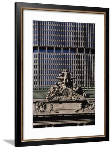 Tiffany Glass Clock and Sculptures of Minerva, Hercules and Mercury--Framed Art Print