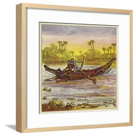 The Brothers Bold Travelling on the Nile by Crocodile-Ernest Henry Griset-Framed Art Print