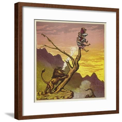 The Three Mariners Escape a Lion by Climbing a Tree-Ernest Henry Griset-Framed Art Print
