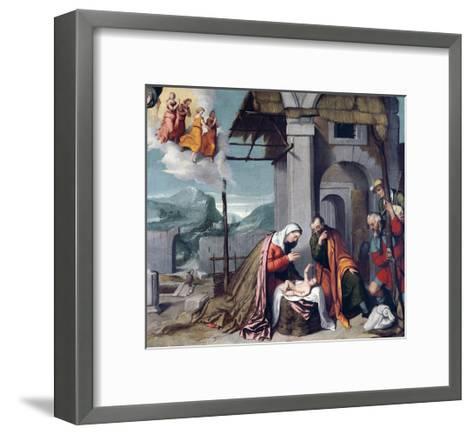 Adoration of Shepherds by Giovanni Battista Moroni--Framed Art Print