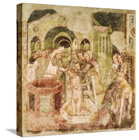 Legend of St Ursula: Baptism of Prince of England, by Tommaso Da Modena--Stretched Canvas Print
