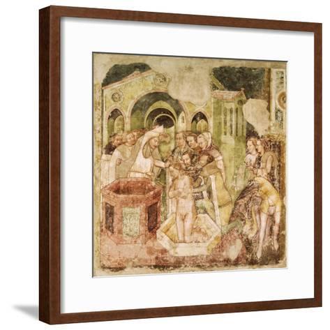 Legend of St Ursula: Baptism of Prince of England, by Tommaso Da Modena--Framed Art Print
