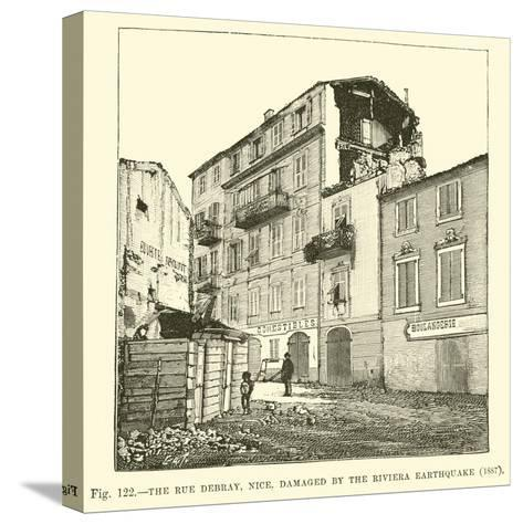 The Rue Debray, Nice, Damaged by the Riviera Earthquake, 1887--Stretched Canvas Print