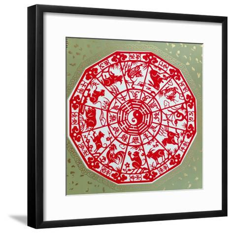 Chinese Papercut Depicting the Twelve Signs of the Zodiac, C.1980--Framed Art Print