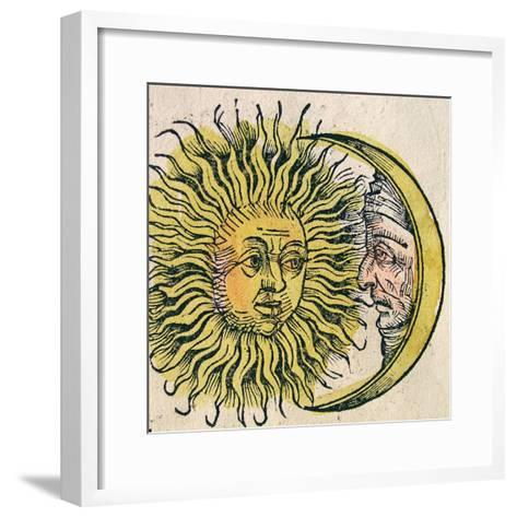The Sun and Moon, Published in the Nuremberg Chronicle, 1493--Framed Art Print