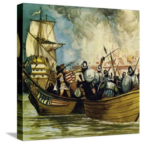 Cortes Captured the Young King Cuauhtemoc as He Tried to Escape by Canoe-Alberto Salinas-Stretched Canvas Print