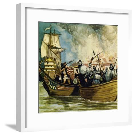 Cortes Captured the Young King Cuauhtemoc as He Tried to Escape by Canoe-Alberto Salinas-Framed Art Print