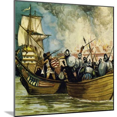 Cortes Captured the Young King Cuauhtemoc as He Tried to Escape by Canoe-Alberto Salinas-Mounted Giclee Print