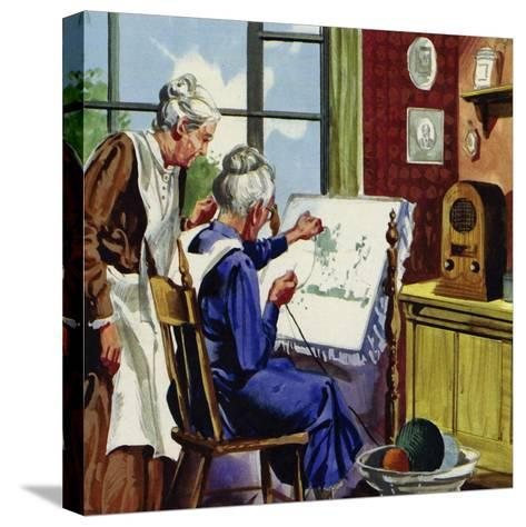 Anna Moses Took Up Sewing Pictures in Brightly Coloured Wool--Stretched Canvas Print