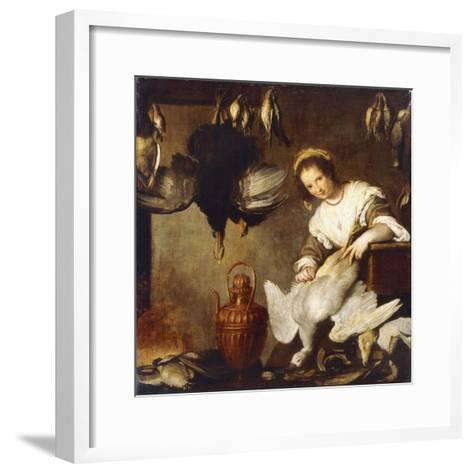 La Cuoca - a Kitchen Maid Plucking a Goose in an Interior-Bernardo Strozzi-Framed Art Print