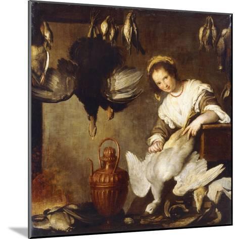 La Cuoca - a Kitchen Maid Plucking a Goose in an Interior-Bernardo Strozzi-Mounted Giclee Print