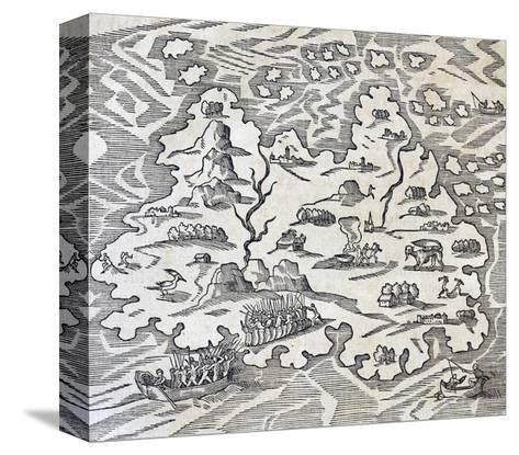 Trinity Island, Engraving from Universal Cosmology-Andre Thevet-Stretched Canvas Print