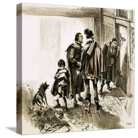 A Group of Tax Collectors Vainly Hammering on William Shakespeare's Door-Neville Dear-Stretched Canvas Print