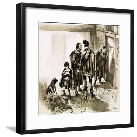 A Group of Tax Collectors Vainly Hammering on William Shakespeare's Door-Neville Dear-Framed Art Print