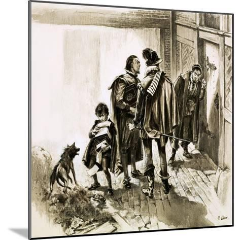A Group of Tax Collectors Vainly Hammering on William Shakespeare's Door-Neville Dear-Mounted Giclee Print