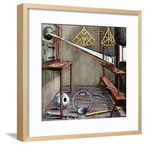 Observatory and Astronomical Instruments-Johannes Hevelius-Framed Art Print