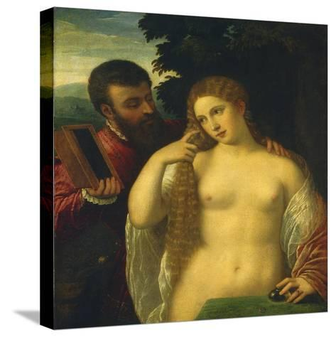 Allegory, Possibly Alfonso D'Este and Laura Dianti-Titian (Tiziano Vecelli)-Stretched Canvas Print