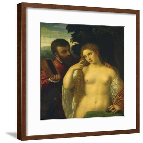 Allegory, Possibly Alfonso D'Este and Laura Dianti-Titian (Tiziano Vecelli)-Framed Art Print