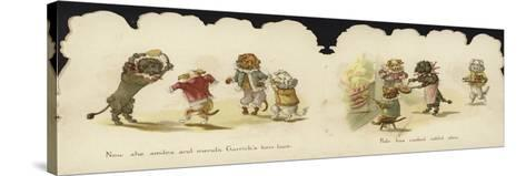 Interior of a Card Depicting Dogs in Circus Costumes--Stretched Canvas Print