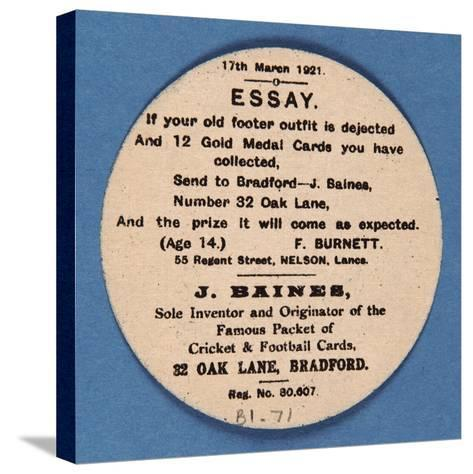 Customer Letter on Reverse of a Baines' Football Card--Stretched Canvas Print