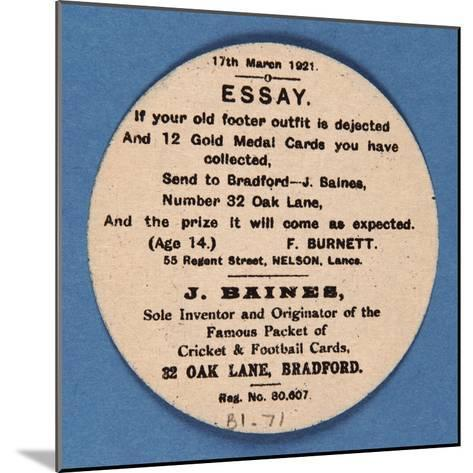 Customer Letter on Reverse of a Baines' Football Card--Mounted Giclee Print