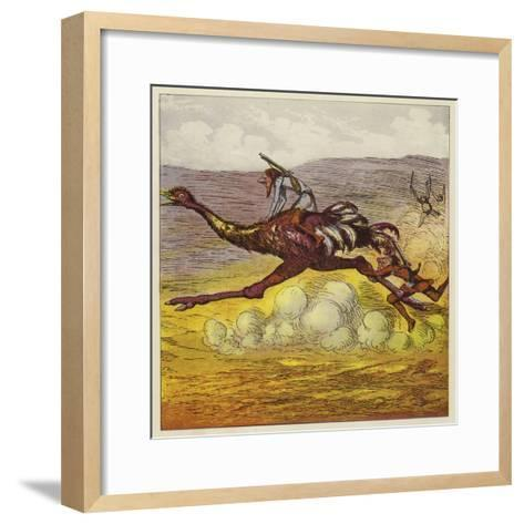 The Brothers Bold Escape the Gorillas by Riding an Ostrich-Ernest Henry Griset-Framed Art Print