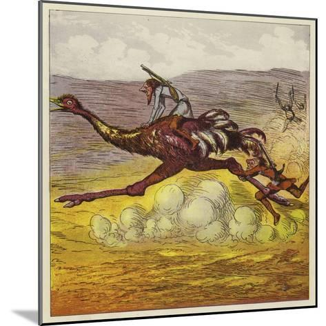 The Brothers Bold Escape the Gorillas by Riding an Ostrich-Ernest Henry Griset-Mounted Giclee Print