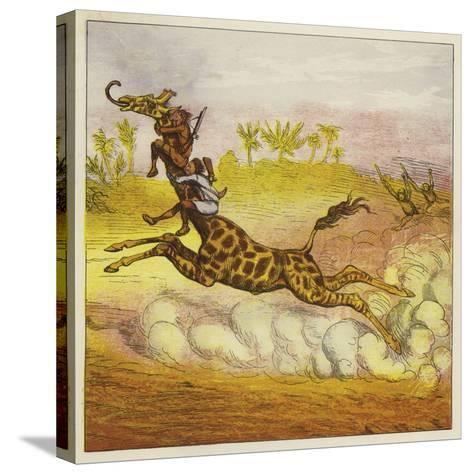 The Brothers Bold Escape the Gorillas by Riding a Giraffe-Ernest Henry Griset-Stretched Canvas Print