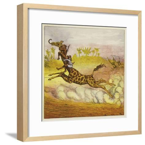The Brothers Bold Escape the Gorillas by Riding a Giraffe-Ernest Henry Griset-Framed Art Print