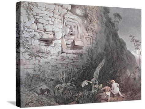 Carved Head of Itzamna in Izamal-Frederick Catherwood-Stretched Canvas Print