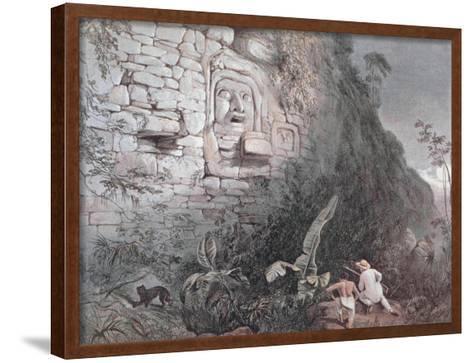 Carved Head of Itzamna in Izamal-Frederick Catherwood-Framed Art Print