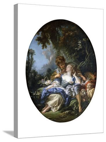 A Shepherd and a Shepherdess in Dalliance in a Wooded Landscape, 1761-Francois Boucher-Stretched Canvas Print
