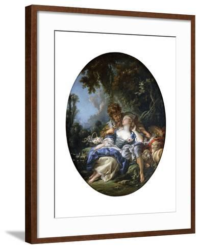 A Shepherd and a Shepherdess in Dalliance in a Wooded Landscape, 1761-Francois Boucher-Framed Art Print