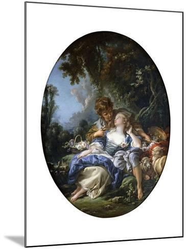 A Shepherd and a Shepherdess in Dalliance in a Wooded Landscape, 1761-Francois Boucher-Mounted Giclee Print