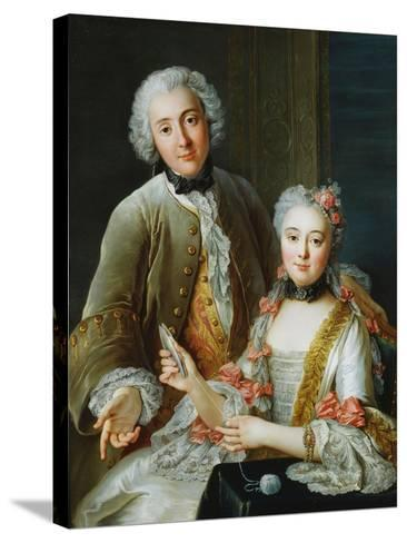 Portrait of Francois De Jullienne Standing Beside His Wife, Seated, C.1743-Antoine Coypel-Stretched Canvas Print