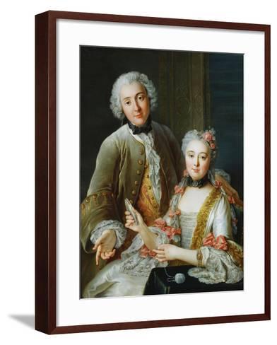 Portrait of Francois De Jullienne Standing Beside His Wife, Seated, C.1743-Antoine Coypel-Framed Art Print