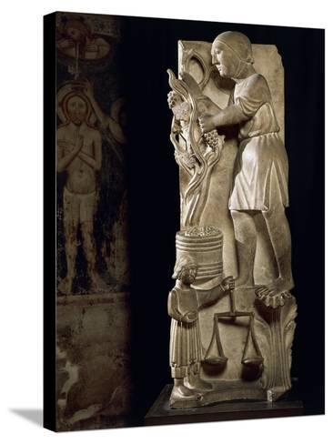 Sculpture Representing Month of September-Benedetto Antelami-Stretched Canvas Print