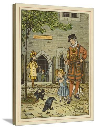 A Young Girl Stands Nervously Beside a Yeoman of the Guard-Thomas Crane-Stretched Canvas Print