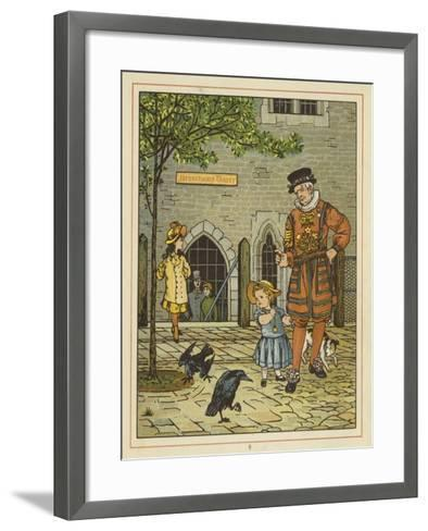 A Young Girl Stands Nervously Beside a Yeoman of the Guard-Thomas Crane-Framed Art Print