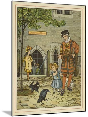 A Young Girl Stands Nervously Beside a Yeoman of the Guard-Thomas Crane-Mounted Giclee Print