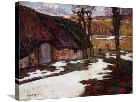 Peasant in Front of a Thatched Cottage; Paysanne Devant La Chaumiere-Victor Charreton-Stretched Canvas Print